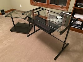 Glass Desk with Side Table