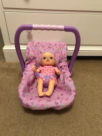 Toy baby doll plastic car seat carrier