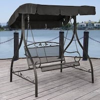 Wrought Iron 2-Person Outdoor Patio Canopy Porch Swing Bell Gardens