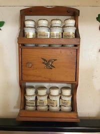 Vintage spice rack holder with all spice bottles!