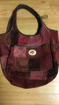 brown, purple and red Coach patchwork tote bag Revere, 02151