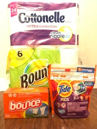 Brand new Household bundle with Bounty, Charmin, tide and bounce