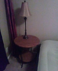 brown wooden base with brown lampshade table lamp