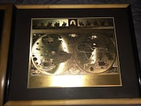 Gold double hemisphere map with brown wooden frame $5 off today only