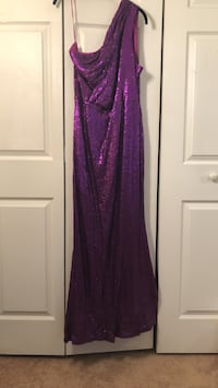 Purple sequin off the shoulder ball gown Waldorf, 20601