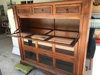 Brown wooden framed glass display cabinet Rancho Cucamonga, 91701