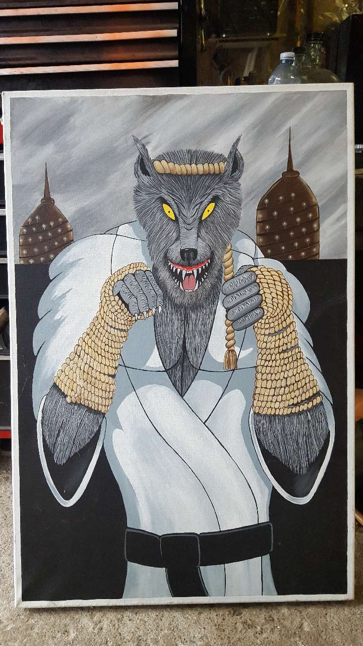 wolf man wearing martial art outfit painting