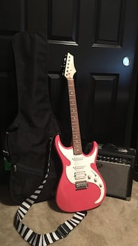 Pink and White Baltimore guitar with case and Fender frontman 15R amplifier Temecula, 92592