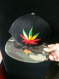 black and green cannabis print fitted cap Rochester, 14621