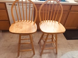 2 high top chairs solid wood