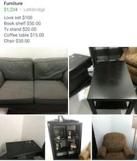 black coffee table, loveseat, cubby shelf, sofa chair and end table collage Edmonton, T5S 2V9