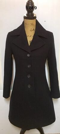 """TOMMY HILFIGER AMERICAN CLASSICS  WOMENS BLACK WOOL PEACOAT TOP COAT OVERCOAT JACKET 6P PETITE.  4 Buttons, form fitted  18"""" bust / 23"""" shoulder to wrist / 37"""" back of neck to bottom  Wool & Polyester blend  Condition is Pre-owned, in excellent shape. Palo Alto, 94301"""