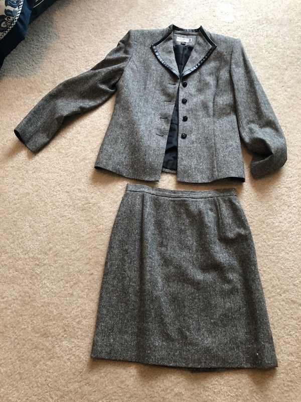 Gray and black skirt suit