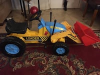 blue and yellow front loader toy