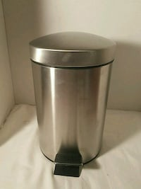"Stainless Steel Round Trash Can 11"" Tall Step On"