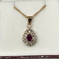 10k pear shaped ruby and diamond necklace London, N6P