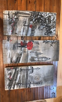 3 panel hand painted wooden Painting