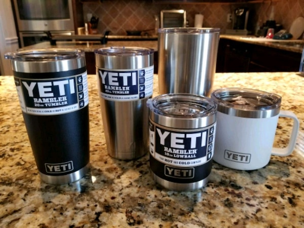Used four gray-and-black Yeti Rambler tumblers for sale in