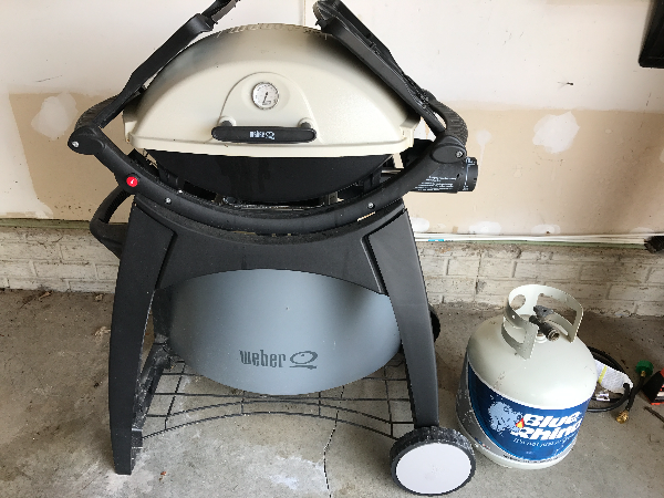 white and gray Weber gas grill SUNBURY