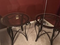 round glass top table with black metal base Marietta, 30008