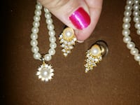 Pearl necklace with earrings set