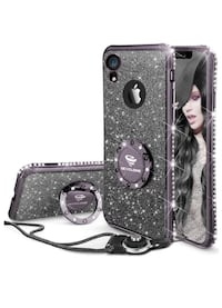 iPhone XR case for girl woman Glitter Bling Diamond with Ring kickstand Purple with Black McAllen, 78504