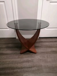 Modern Tempered Glass and Walnut Side Table