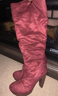 High Calf Burgundy Stiletto Heel boots 8.5 by Shoe Dazzle