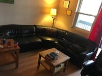 black leather sectional sofa with coffee table St Catharines, L2N 6N9