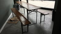 brown wooden picnic table and chairs set Chicago, 60641