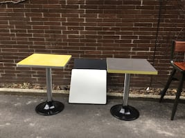 Vintage 8 table tops with bases $50.00each