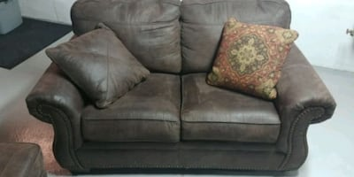 Loveseat and recliner with ottoman