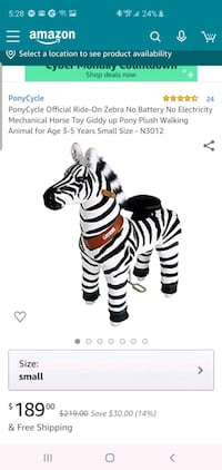 PonyCycle Official Ride-On Zebra No Battery No Electricity Mechanical