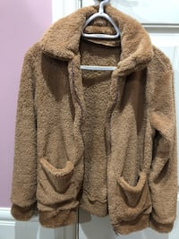brown fuzzy jacket