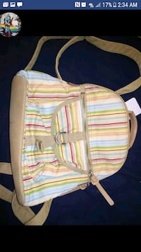 white, pink, and green stripe backpack Boone, 50036