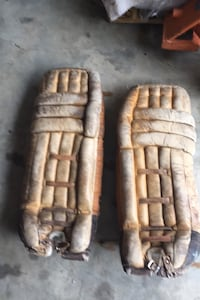 Vintage leather goalie pads Awesome for display or mancave