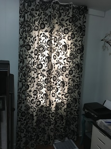 White and black flora window curtain