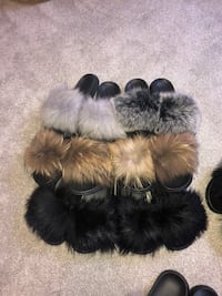 Fur slide slippers