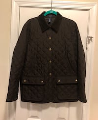"""""""Vintage"""" Chaps Ralph Lauren Barn Coat/Jacket..Brown Quilted..Women's Size Large.. Pre-Owned in EUC..Corduroy Collar..The back has buttons that can close or stay unbuttoned..Great Fall Jacket.. Worn once then placed in storage..Like New!! Original price $ 166 mi"""