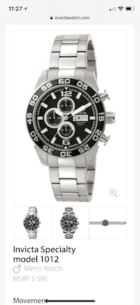 round black and white chronograph watch with silver link bracelet Bridgeport, 06610