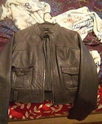 brown leather zip-up jacket Brewer, 04412