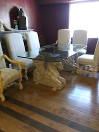 PEGASUS DINING TABLE-6 CHAIRS, INCLUDES TWO CAPTAI