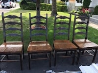 four brown wooden framed padded chairs Sainte-Thérèse, J7E 2S7