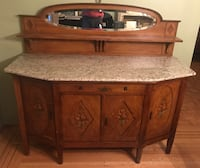 Antique Country Style Sideboard with Marble Top and Oval Mirror Back Splash null