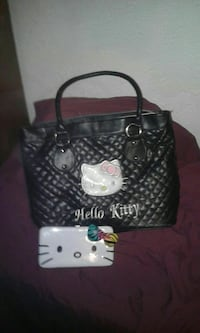 black leather Hello Kitty printed tote bag