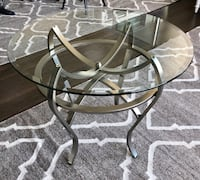 Glass and aluminum base side tables Vancouver, V5Y