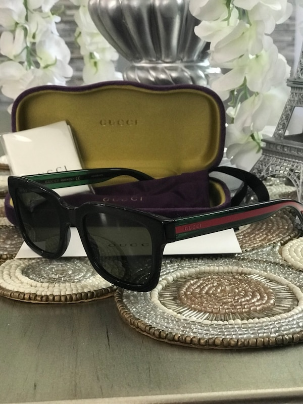 84d012f06e Used Authentic Gucci rectangular Square Sunglasses Black Green Lens for  sale in Bloomfield - letgo