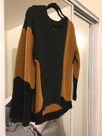 knit brown and black sweater