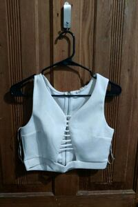 White cage crop top