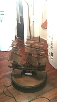 Old vintage handmade ship lamp constitution detailed wood base works sailor sailing model ship in bottle pirates decor Islip, 11782